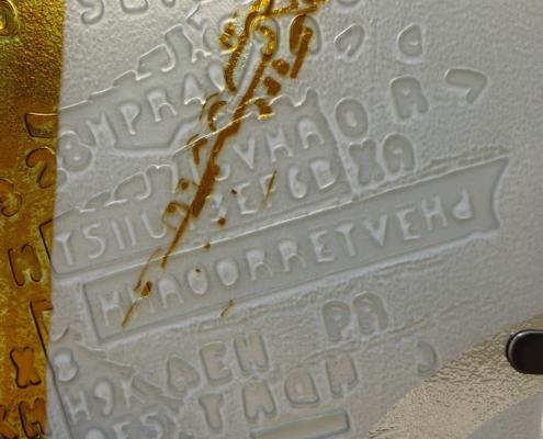 thermoformage du verre avec peintures au jaune d'argent